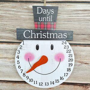 Weihnachts Dekoration Countdown Weihnachts-Adventskalender Frohe Weihnachten Holz Wanduhr-Kalender Wandbehang Feiertags-Wanddekor (Schneemannn)