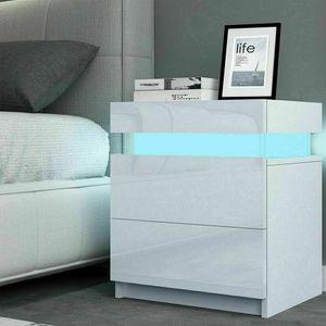 Nachttisch Nachtschrank LED Nachtkommode Nachtkonsole Kommode Schrank mit 2 Schubladen- LED Beleuchtung