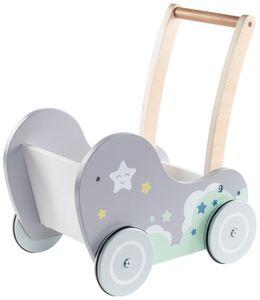 Lauflernwagen Lauflernhilfe Puppenwagen aus Holz für Kleinkinder Mädchen und Jungen - Grau