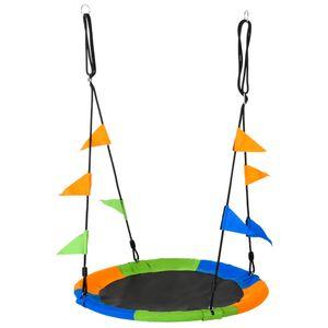 Outsunny Nestschaukel Tellerschaukel Kinderschaukel Gartenschaukel bis 150 kg belastbar für 3+ Jahre Metall Polyester Blau+Grün+Orange Ø100 cm