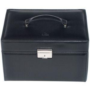 Schmuckkoffer Schmuckkasten Schmuck Koffer Leder schwarz Schmuckbox schwarz