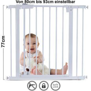 Absperrgitter Treppenschutzgitter Metall weiß verstellbar 80 -93cm 77cm hoch