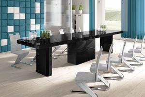 Design Konferenztisch Tisch HE-444 Schwarz Hochglanz XXL ausziehbar 160 bis 412 cm