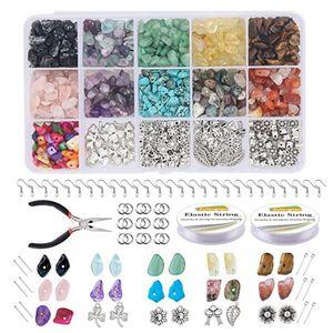 933x Bastelset Steinperlen Schmuck Basteln Set, Irregulär Stein DIY Schmuck Set für Halskette Armband Ohrring und Andere Schmuckherstellung
