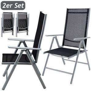 Casaria 2er Set Alu Gartenstuhl Hochlehner 7-fach verstellbare Lehne Klappbar Wetterfest Aluminium Klappstuhl Set Silber