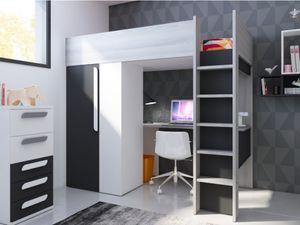 Hochbett mit Schreibtisch & Kleiderschrank NICOLAS - 90 x 200 cm - Anthrazit & Weiß