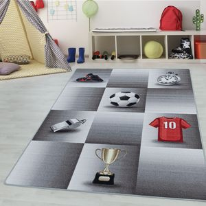 Teppium Kinderteppich, Kinderzimmerteppich, Fussball Trikot Pokal, Rechteckig GRAU, Farbe:GRAU,160 cm x 230 cm
