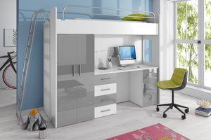 Selsey - Möbel-Set ASTURIA mit Leiter für Kinderzimmer, in Weiß mit grauen Elementen, mit Kleiderschrank, Schreibtisch und Bett