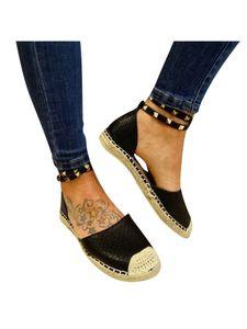 Damen-Schuhe Mit Flachem Absatz Und Nieten Und Offenen Sandalen,Farbe: Schwarz,Größe:40