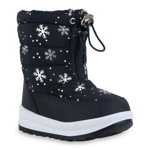 Mytrendshoe Kinder Warm Gefütterte Winter Boots Metallic Stiefel Prints Schuhe 836091, Farbe: Dunkelblau Silber Muster Metallic, Größe: 28