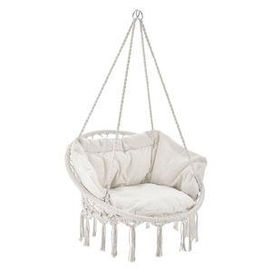 Hängesessel Cadras mit Kissen im Rücken und Sitzpolster – Indoor Hängekorb 120 kg Belastbarkeit für Kinder & Erwachsene – Einfache Aufhängung | Juskys