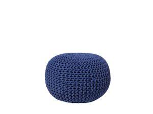 Pouf Blau 100% Baumwolle Rund Ø50 cm Elegant Modern