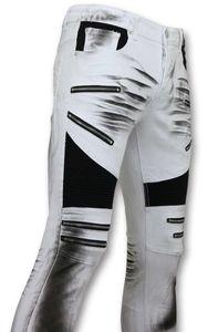 Beschädigte Fit Biker Jeans - Slim Fit Hose - Weiß - 32