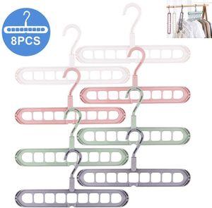 Magic Kleiderbügel-Organizer,Kleiderbügel Platzsparende, Magic Kleiderbügel, 8 Pack Standard-Kleiderbügeln mit 9 Löchern, Anti-Rutsch-Kleiderbügel, Cascading Hanger (Color Mixing)