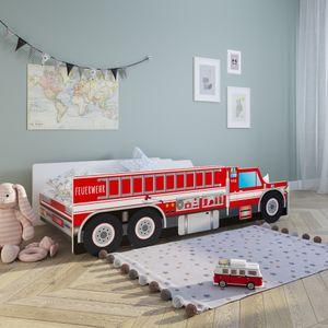 Autobett Kinderbett Jugendbett 70x140   80x160 mit Rausfallschutz Matratze optional   Feuerwehr Feuerwehrauto Feuerwehrmann Kinder Spielbett