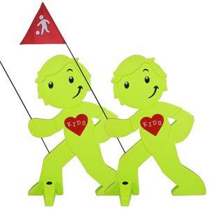StreetBuddy - Warnfigur, Warnaufsteller, Warnschild für Kindersicherheit 2er Set (Grün)