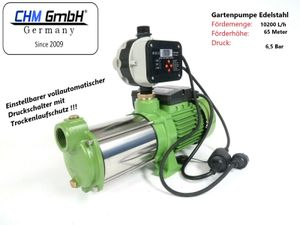 Kreiselpumpe 1,5 KW Gartenpumpe Förderhöhe 65m und 10200 L/h mit Edelstahl Schaufelräder und vollautomatische digitale Pumpensteuerung