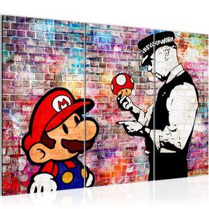 Mario and Cop Banksy Ziegel Mauer BILD 120x80 cm − FOTOGRAFIE AUF VLIES LEINWANDBILD XXL DEKORATION WANDBILDER MODERN KUNSTDRUCK MEHRTEILIG 303031c
