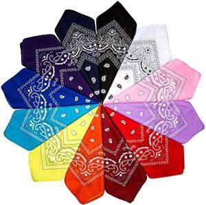 12er Set Paisley Bandana Halstuch 54 x 54 cm Kopftuch Armtuch Mischfarben Haar, Set für Frauen, Männer und Kinder Mode-Accessoires