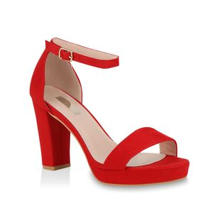 Mytrendshoe Damen Riemchensandaletten Plateau Sandaletten Party Schuhe Elegant 824638, Farbe: Rot, Größe: 40