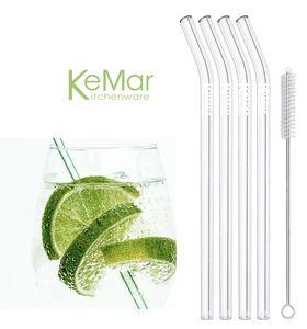 KeMar Kitchenware Glasstrohhalme Trinkhalme Strohhalme aus Glas Gebogen | 4 Stück | 23 cm