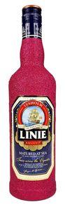 Linie Aquavit Norwegische Spezialität 0,7l 700ml (41,5% Vol) - Bling Bling Glitzerflasche in hot pink -[Enthält Sulfite]