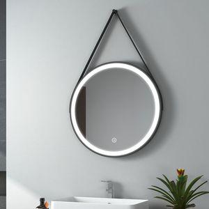 EMKE LED Badspiegel Rund 60 cm Durchmesser LED Spiegel Badezimmerspiegel mit Beleuchtung Kaltweiß Lichtspiegel Wandspiegel mit Touchschalter IP44 Energiesparend (Schwarz Design)