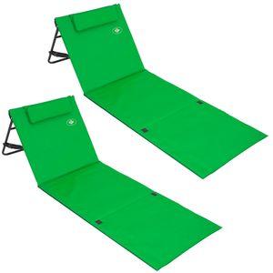 2x Strandmatte - gepolstert, mit Lehne und Tasche grün