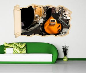 3D Wandtattoo Musik Gitarre Schlagzeug Bühne Retro Tapete Wand Aufkleber Wanddurchbruch Deko Wandbild Wandsticker 11N2115, Wandbild Größe F:ca. 162cmx97cm