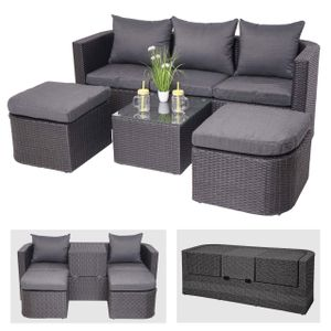 3in1-Garnitur HWC-J37, Garten-/Lounge-Set Sonneninsel, Spun Poly halbrundes Poly-Rattan  anthrazit, Kissen dunkelgrau