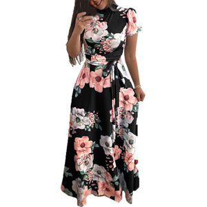 (Schwarz,3XL)Damen Blumendruck Maxirock Kurzarm Lage Swing Elegantes Kleid Taillengürtel Maxikleider