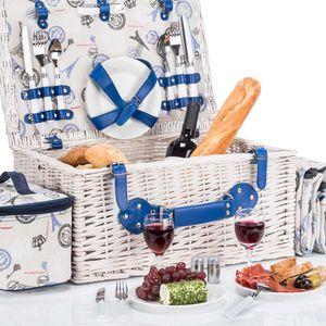 Picknickkorb XXL für 4 Personen mit Vollausstattung, wie Picknickdecke und viel Picknick Zubehör