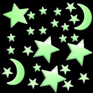 100 Stück Leuchtsterne Nachtleuchtend Sternenhimmel Stern Mond Leucht Sterne