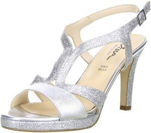 Vista Damen Glitzer Sandaletten silber, Größe:41, Farbe:Silber