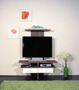 TV Schrank / TV Rack / Hifi-Fernseh / TV Regal zebrano dunkel - hochglanz-weiß mdf