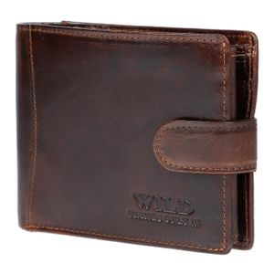 Herren Geldbörse Geldbeutel Portemonnaie echt Leder Querformat RFID Schutz Wild Braun