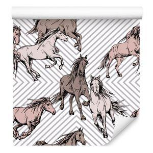 10m VLIES TAPETE Rolle Kinderzimmer Tiere Pferde Geometrisch Linien XXL