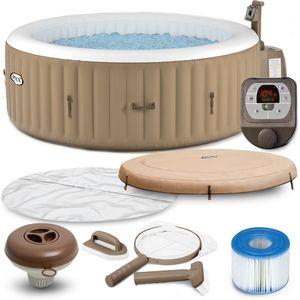 Intex Whirlpool Pure SPA 28426 Bubble Massage Therapy für 4 Personen Kalkschutz Komplett-Set mit Extra-Zubehör wie: Reinigungsset, Kopfstütze und Getränkehalter
