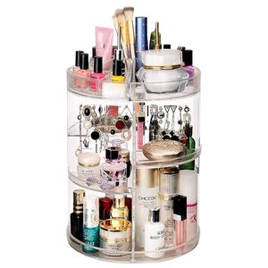 AWEMOZ® Make Up Organizer - 360° - Rotierend – Schmuckkästchen – Schminktisch Zubehör  - Kosmetik – Pinselhalter – Schmink Aufbewahrung für Nagellack & Lippenstift – Transparent - Muttertag Geschenke