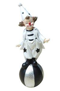 Dekofigur Clown auf Ball schwarz weiß 18cm Figur Karneval Köln Harlekin