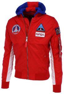 Alpha Industries Herren Bomberjacke MA-1 TT Hood NASA speed red M