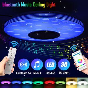Elegant Dimmbar 84LED LED Deckenleuchte bluetooth Lautsprecher Deckenlampe APP Remote 60W