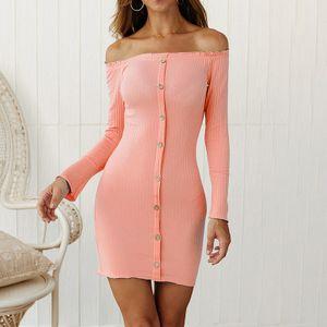 Frauen-Winter-Weinlese strickte Kleid weg von der Schulter-eleganten Backless Pullover-beilaeufigen MiniPartei-KleidL