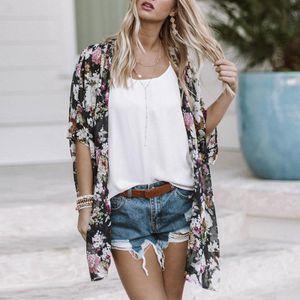 Frauen Kimono Cardigan Floral Print Boho Halbarm Lose Lange Bikini vertuschen Strandbekleidung