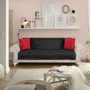 Melody Sofaüberwurf / Couchüberwurf Anti-rutsch Tagesdecke Sesselschutz Möbelschutz Überwürfe Sofa Abdeckung Sofaschutz Couchüberzug Couchabdeckung schwarz Mod1