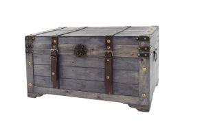 Truhe KUBA aus Holz grau mit Metall- und Kunstlederapplikationen GR2
