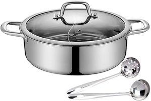 28cm Edelstahl Hot Pot Topf mit 2*Suppenkellen und Deckel für Induktionskochfeld Gasherd (Silber)