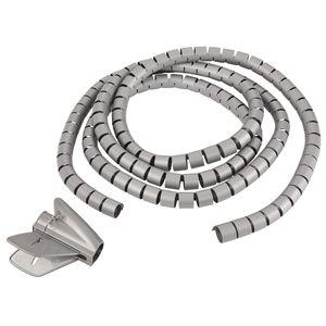 TPFNet Premium Spiral-Kabelschlauch 30mm, mit Einfädelhilfe, Silber, 5m