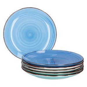 6er Blue Baita Speiseteller Landhausstil Ø27cm Essteller 6 Blautöne Meer/Ozean Optik Steingut