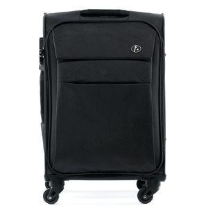 FERGÉ Handgepäck-Koffer Calais Nylon schwarz Stoffkoffer Kabinentrolley 4 Rollen Handgepäck-Koffer